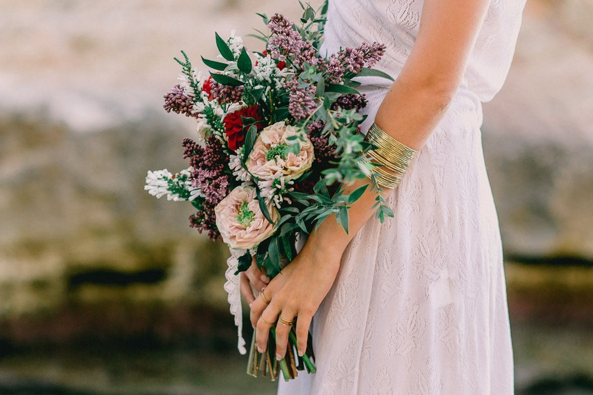wedding photography mallorca bride bouquet Wedding Photographer in Mallorca | Beach Boho Wedding Inspiration